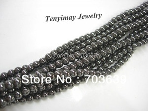 Wholesale 5 Strands 6mm Black Hematite Loose Beads For Jewelry DIY(65pcs/Strand)
