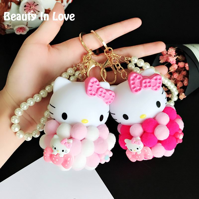 Hello Kitty Kiki Fur Pom poms Pompom Pearl Chain For Kids Toy Keychain Women Trinket Metal Key Chains Car Bag Pendent Charm D121