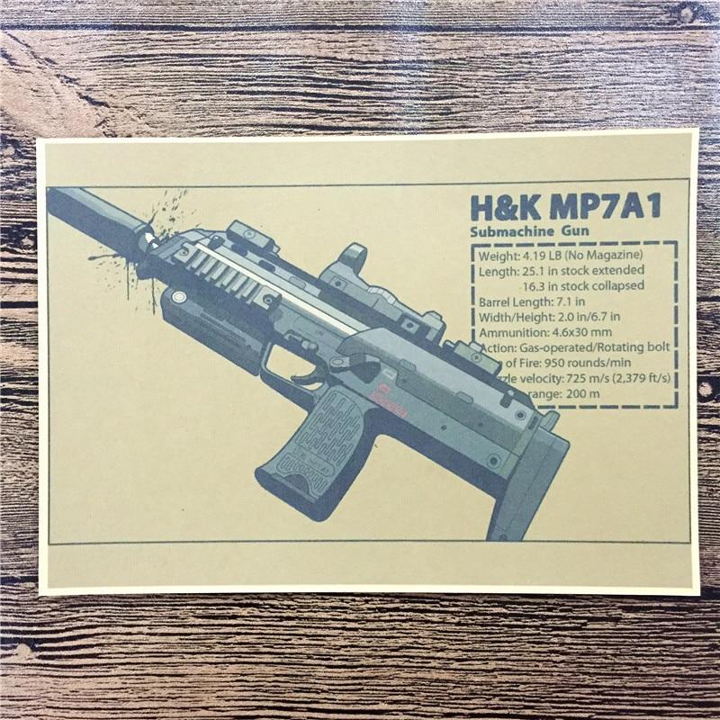 "Venta Directa RMG-061 papel Kraft clásico ""MP7A1 H & K"" Imágenes para afiche para pared del hogar Decoración café pintura decorativa de Bar 42x30 cm"