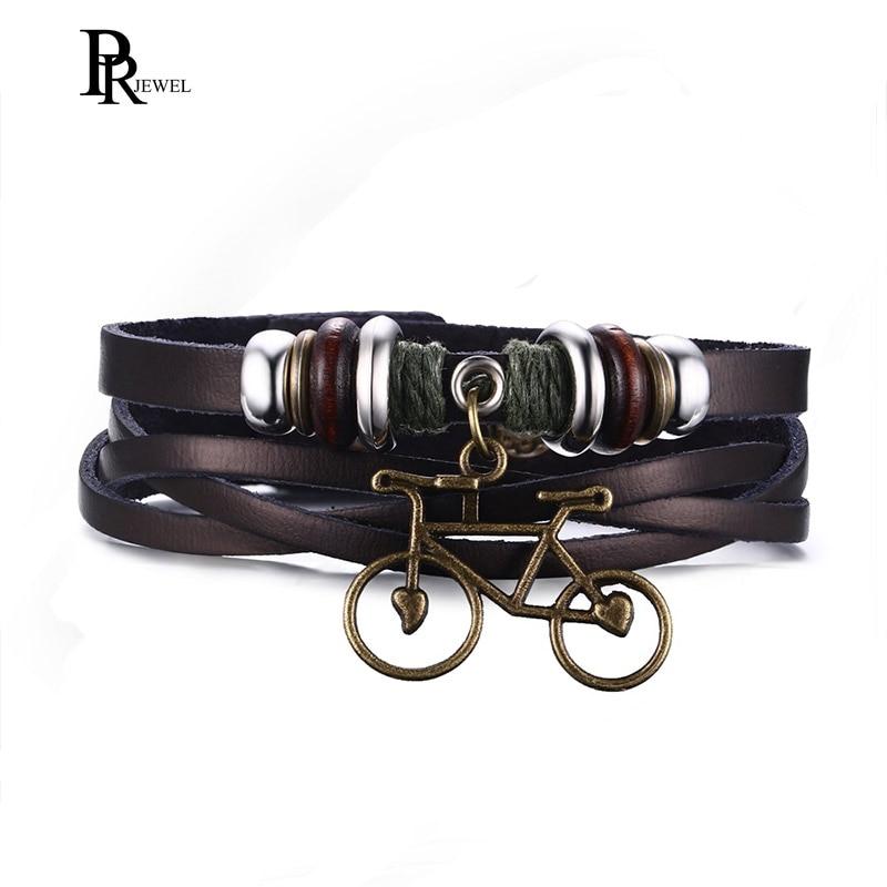 Drop Verschiffen Nette Bike Fahrrad Armband Aus Echtem Leder Perle Charme Armband für Männer Frauen
