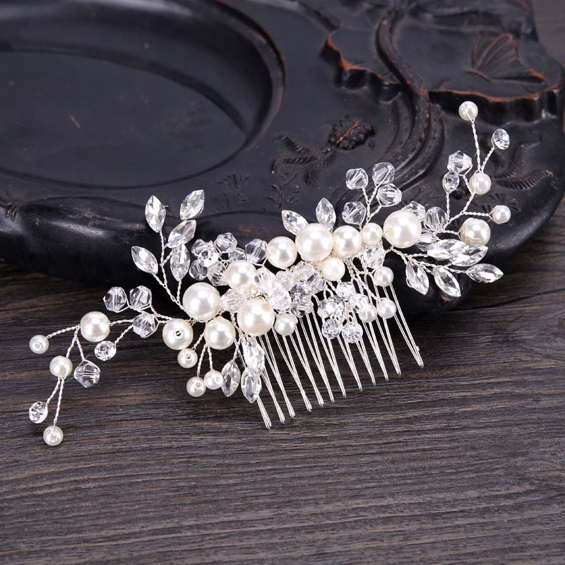 tocado novia Para siete de lujo elegante perla de imitación peine para...