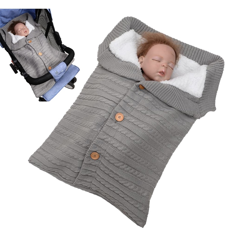 Saco de dormir para cochecito de bebé recién nacido sobre de punto de algodón Otoño Invierno sacos de dormir calientes para saco de dormir para envolver saapzak