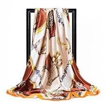 Écharpe en soie de marque de luxe 90*90cm   Grand foulard carré en Satin en sergé pour femmes, Design de calèche avec chaîne, tendance, nouvelle collection 2019