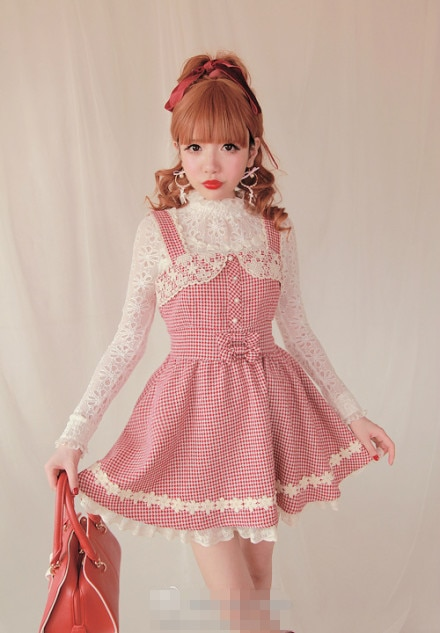 Princesa adorable Vestido de Lolita Bobon21 Flor de encaje Vintage pata de gallo restaurar maneras antiguas vestido de tirantes D1083