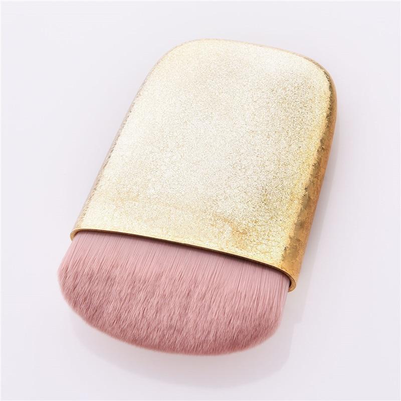Brochas de maquillaje faciales con mango dorado/rosa, 1 polvo para PC, brochas de maquillaje faciales para un solo cepillo