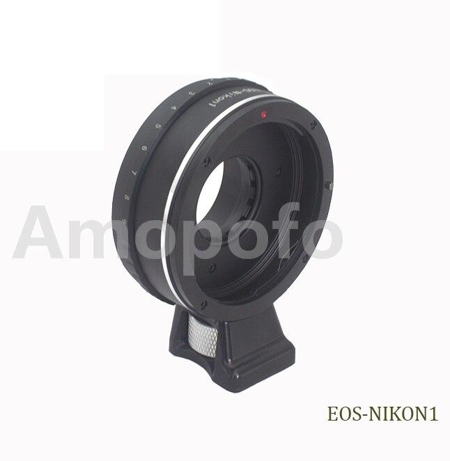 Anillo adaptador de montura de apertura ajustable adecuado para lentes Canon EF montura EF para Nikon 1 V1 V2 J1 J2 adaptador de cámara + con trípode