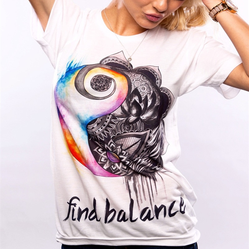 Vintage Encontrar Balance impreso Camiseta estilo coreano moda Tops Harajuku Kawaii camiseta o-cuello mujer camiseta Streetwear Mujer