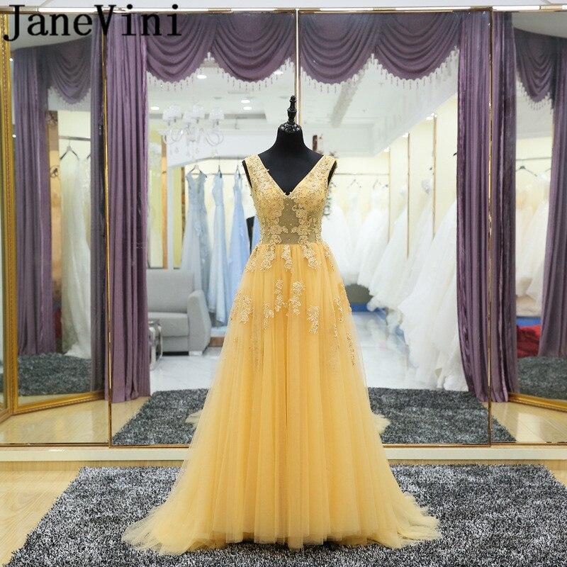 JaneVini-Vestidos amarillos con cuello en V para mujer, vestido de noche con...