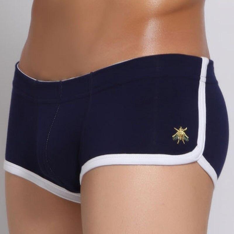 SEOBEAN hombres ondergoed boxershor bordado pequeña abeja suave transpirable bóxer hombre Sexy calecon homme bóxer algodón homb ropa interior