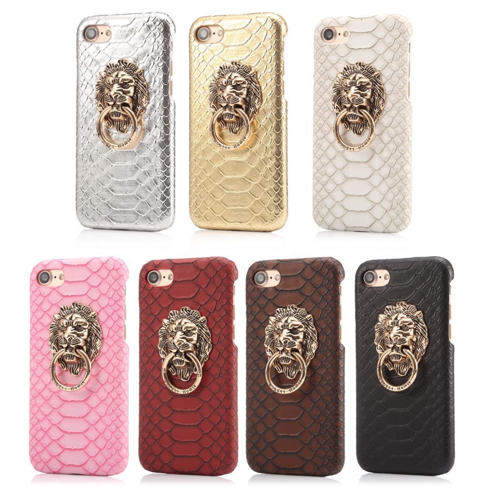 10pcs/lot Vintage Lion Metal Kickstand Phone Case Snake-grain Half Cover For iPhoneXsmax XR 8P 6s 7plus XS Body Shell Protection