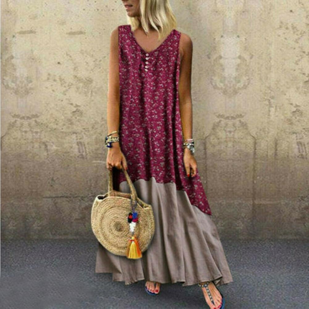 Plus Size Women's Cotton Linen V Neck Sleeveless Asymetrical Kaftan Dress Loose Boho Floral Long Maxi Dress 2019 New
