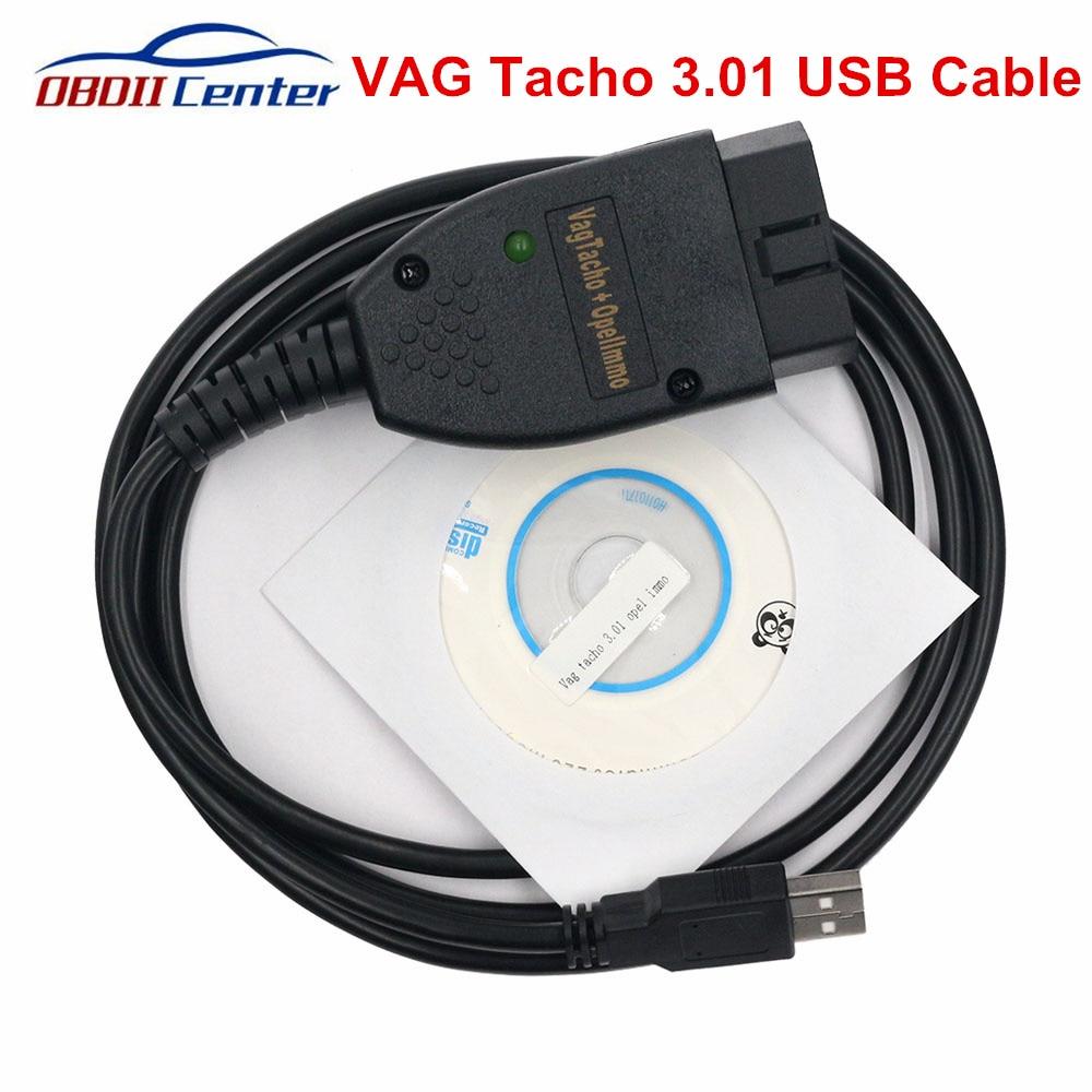 Recente vag tacho usb v3.01 ecu cabo de diagnóstico vagtacho 3.01 scanner para opel immo airbag redefinir odômetro ajuste ferramenta cabo
