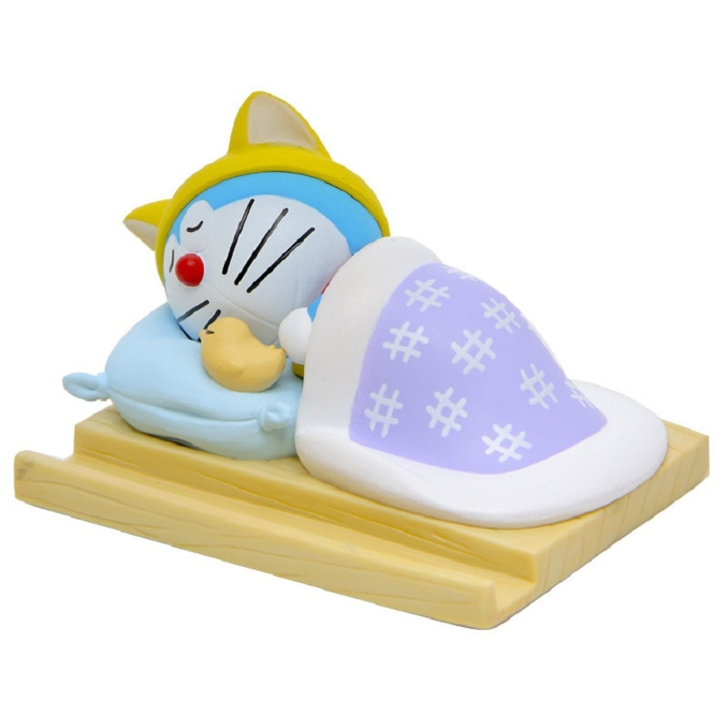 Película de animación japonesa Doraemon Sleep Edition modelo Doraemon figuras de acción de PVC juguetes creativos soporte de teléfono móvil regalos para niños