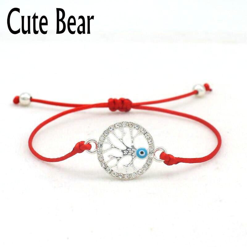 Marca cute Bear Lucky cordel rojo cuerda trenzada pulseras encanto Simple Cristal de incrustación Color plata Pulsera con un árbol de la vida joyería de las mujeres