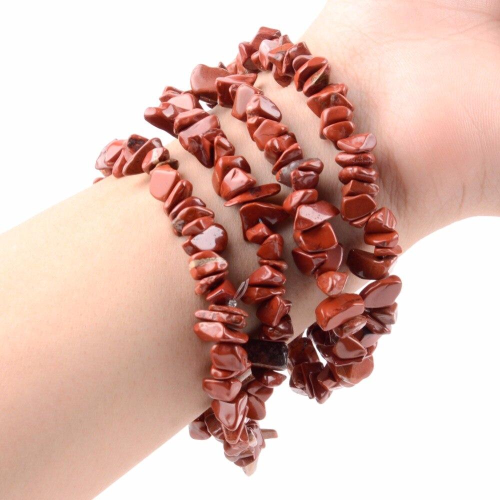 Piedra natural roja Jaspers Chips perlas para joyería haciendo 33 pulgadas de 5-8mm Irregular grava cuentas para manualidades de pulseras accesorios joyas y bisutería
