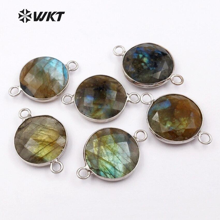 WT-C239 conectores de pedra de moda por atacado natural labradorite pedra pingente com ganchos duplos conectores para senhora jóias fazer
