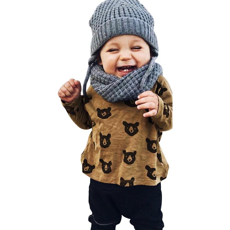 Ensemble de vêtements pour bébés filles   Chemise à manches longues + pantalons, 2 pièces, design de dessin animé ours, tenue de printemps pour nouveaux nés