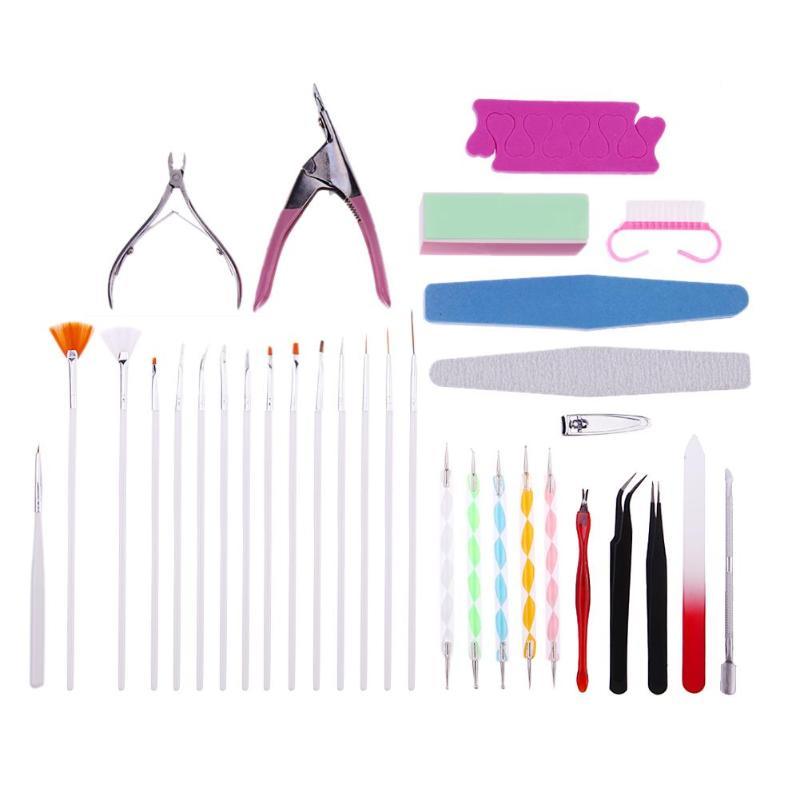 15 unids/set Kits de herramientas de puntas de Arte de uñas Gel UV para arte de uñas Kit de limas de cepillo manicura