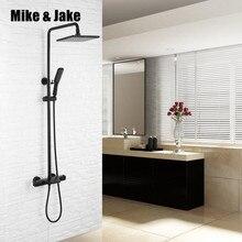 Robinet de douche noir thermostatique   À température constante, ensemble de douche noir, baignoire douche à pluie noire pour le chaud et le froid, douche de salle de bains MJ989