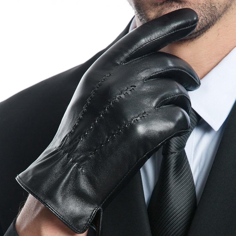 Перчатки из натуральной кожи, мужские перчатки для сенсорного экрана, утолщенные сохраняющие тепло зимние мужские перчатки для вождения из...