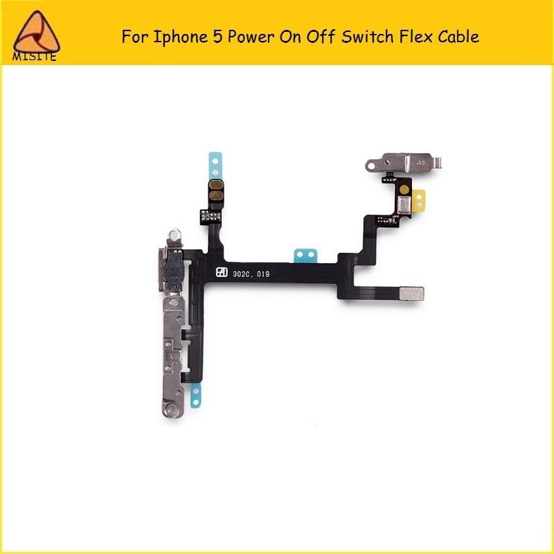 10 unids/lote Flex de la energía del teléfono para el Iphone 5 5G interruptor de encendido de la cerradura de encendido volumen silenciador botón cinta flexible cable de piezas de repuesto
