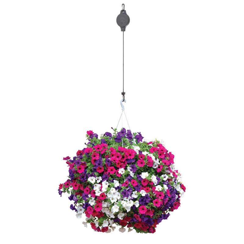 1 par retrátil polia pendurado flor cesta gancho puxar para baixo cabide para jardim lbshipping