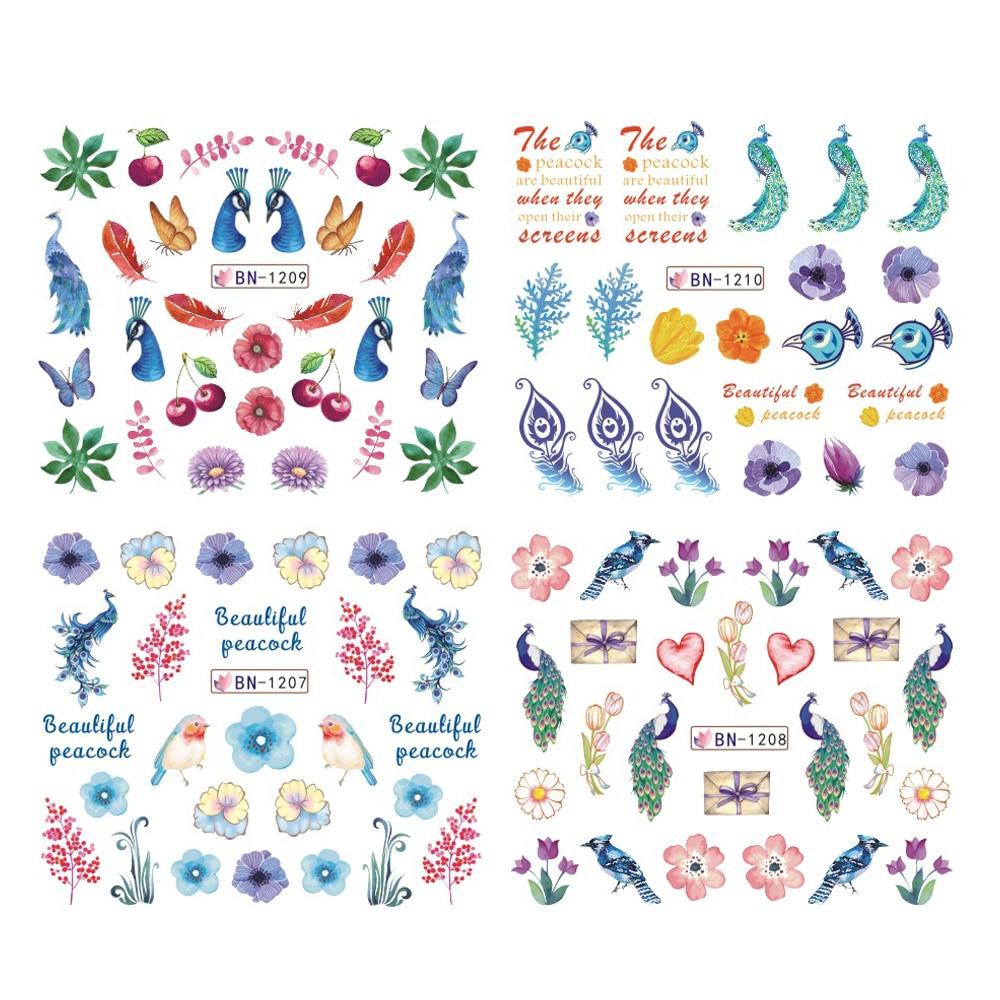 12 Uds pegatina deslizante para uñas hoja de pavo real colorida flor pluma pegatinas de agua para uñas arte manicura tatuajes temporales pegatina de transferencia