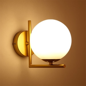 Thrisdar Nordic Golden Glass Ball Wall Light Personality Hotel Corridor Aisle Wall Lamp Frosted Glass Ball Bedside Wall Light
