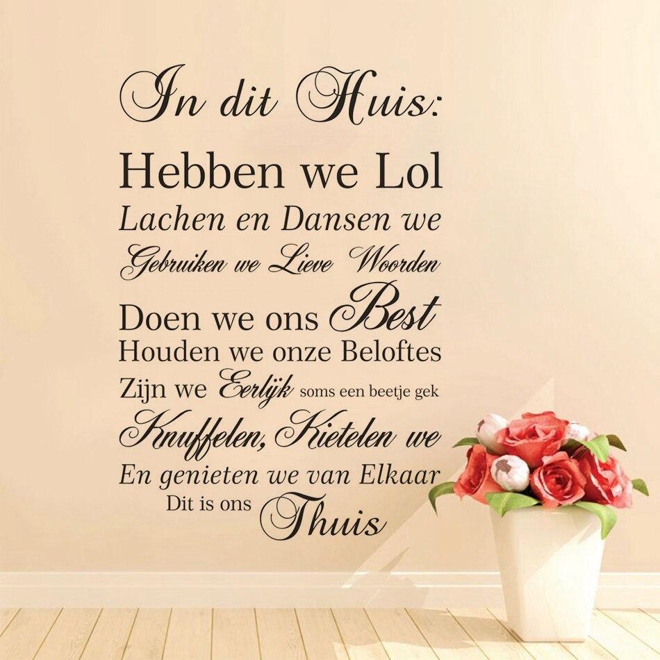 Calcomanías de pared con frase de casa holandesa, pegatinas de vinilo con reglas familiares para el hogar en esta Casa, póster artístico para pared, decoración para sala de estar AZ023