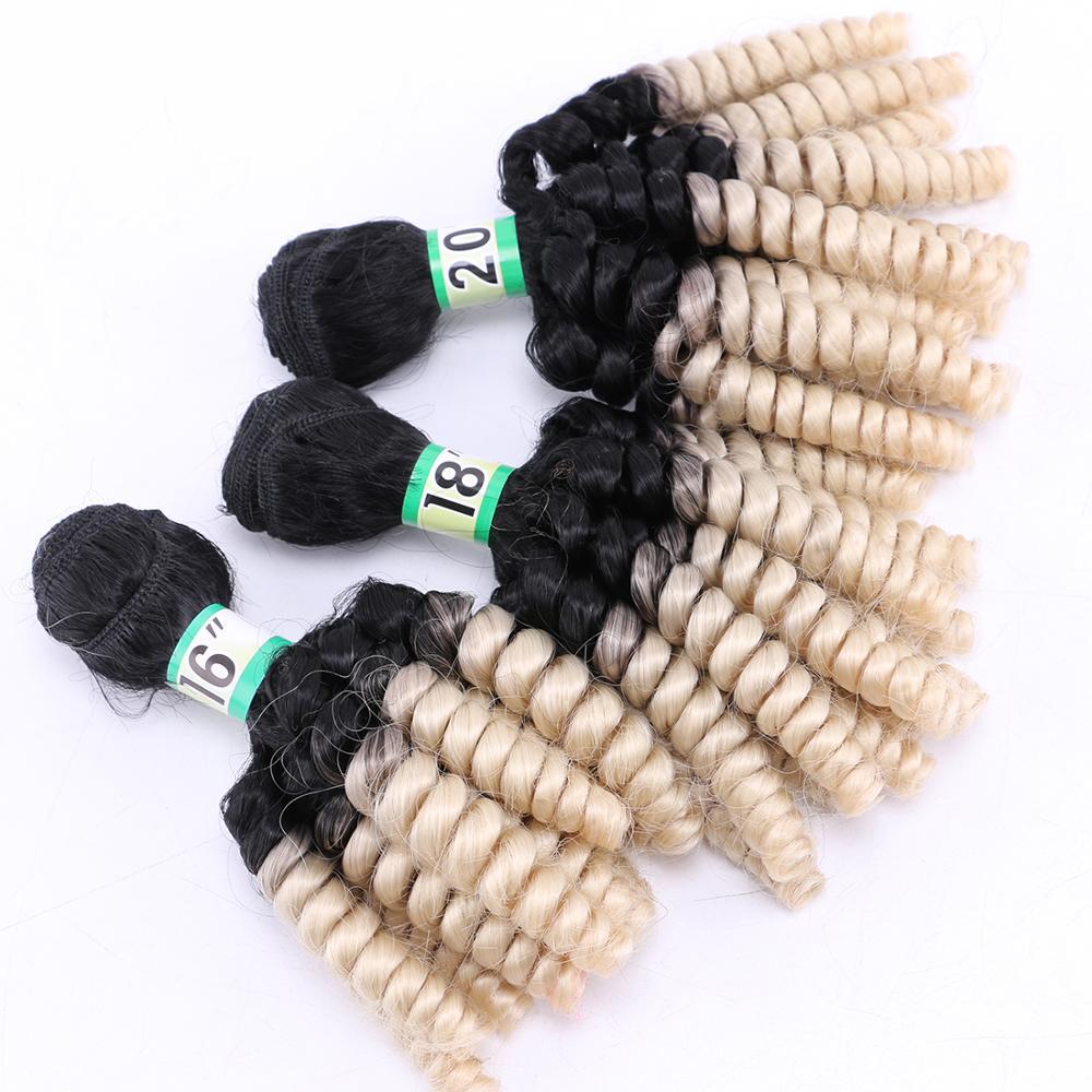Paquete de pelo rizado corto 16 18 20 pulgadas extensión de cabello sintético ombre T1B/613 negro a rojo marrón verde pelo que teje