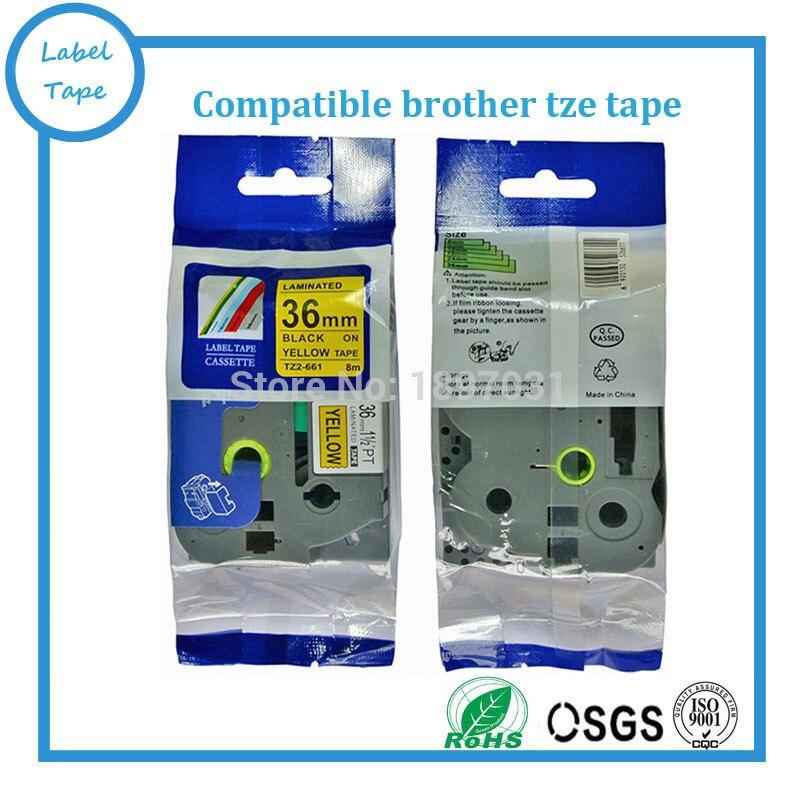 10 piezas TZe-661 tze661 36mm negro sobre amarillo TZ-661 tz661 Tz etiqueta adhesivo cintas compatibles táctil P tze impresoras de etiquetas