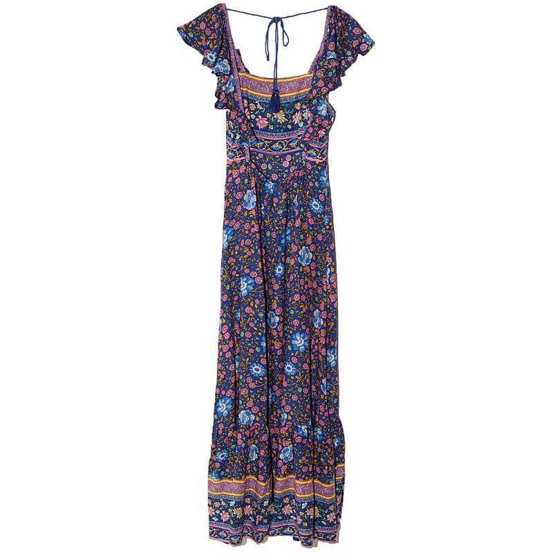 Boho zainspirowany 2017 letnie sukienki kwiatowy print cotton backless długi maxi dress hippie chic ruffles rękawem kobiety sexy vestidos 3