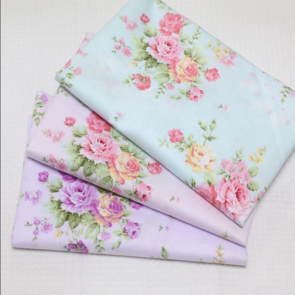 100% cotton twill cloth elagant pastoral blue pink purple rosa flower DIY for kids bedding apparel dress quilting decor telas