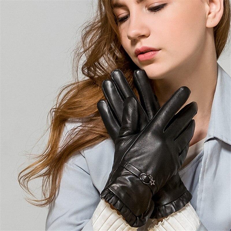 Lambskin Gloves Ms. Genuine Leather Gloves Winter Plus Velvet Thicken Warm Korean Flouncing Round Buckle Strap WL06 ms office pro plus 2019 genuine license 2 pc install