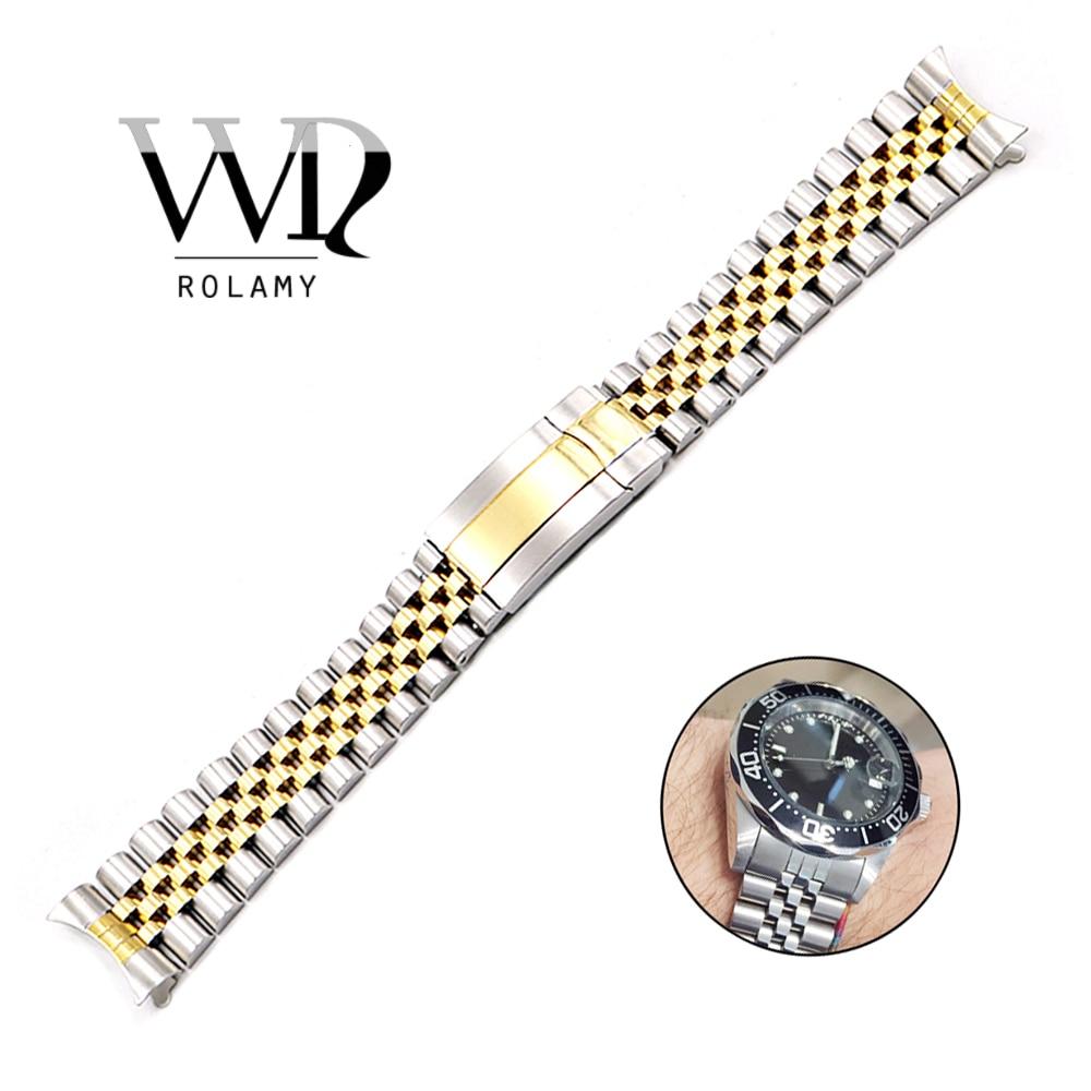 Faixa de Relógio de Aço Inoxidável para Substituição Rolamy Cinta Jubileu Datejust Oco Curvo End Parafuso Links Pulseira Strap 19 20mm