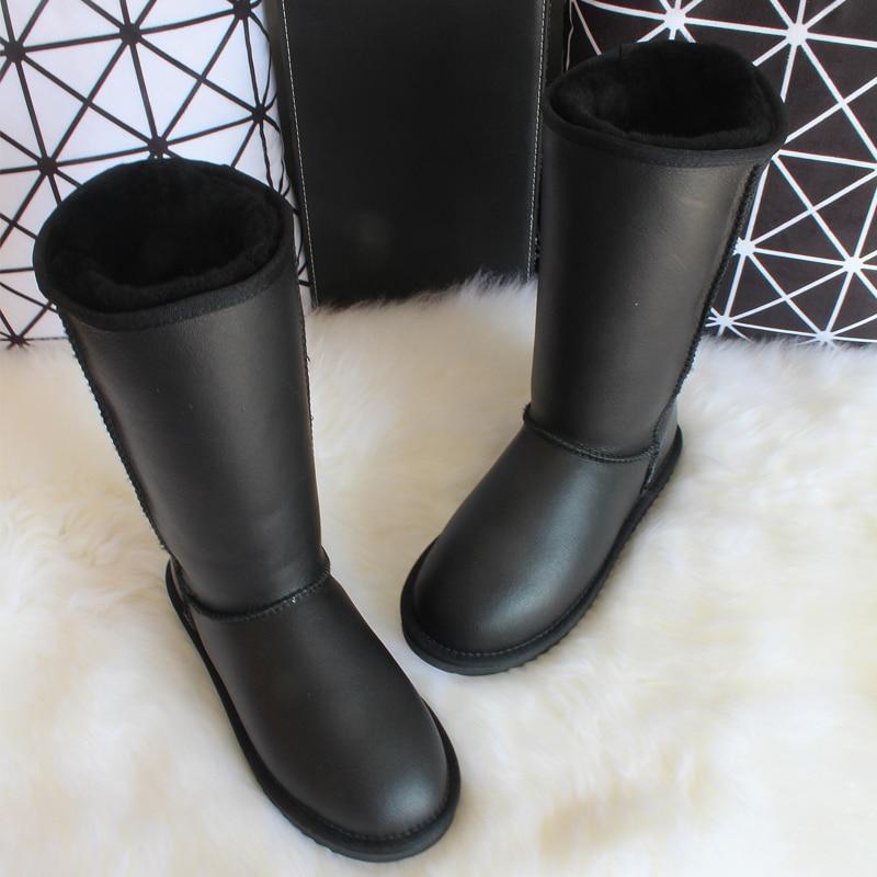 Genuine Sheepskin boots  Winter Knee High Snow Boots Australia Natural Wool Sheep Fur Shoes waterproof flat Women Long Boots
