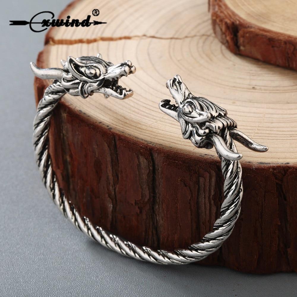 Cxwind, brazalete de alambre Retro Vikingo, joyería para hombres, brazalete con doble cabeza de dragón, brazalete con giro, brazalete ajustable para hombres y mujeres, regalo Punk