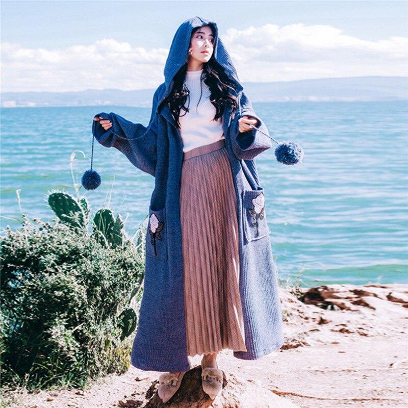 2018 jesień zima leniwe kobiety Harajuku swetry płaszcz Retro do włosów luźne długie dzianiny płaszcze Oversize haft z kapturem swetry rozpinane