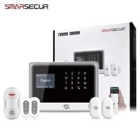 SMARSECUR Russian Spanish English H6 WIFI GSM Alarm System Security Home GSM Alarm System APP Control Alarm DIY Kit-45