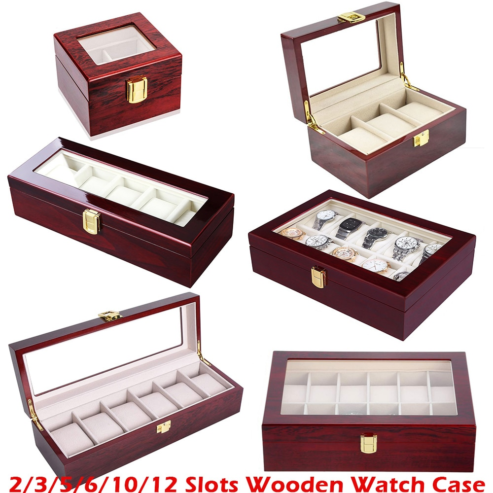Luxury Wooden Watch Box Watch Holder Box For Watches Men Glass Top Jewelry Organizer Box 2 3 5 12 Grids Watch Organizer New D30
