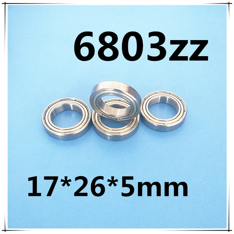 50pcs 6803ZZ 6803 Shielded Deep Groove Radial Ball Bearings 17 x 26 x 5mm