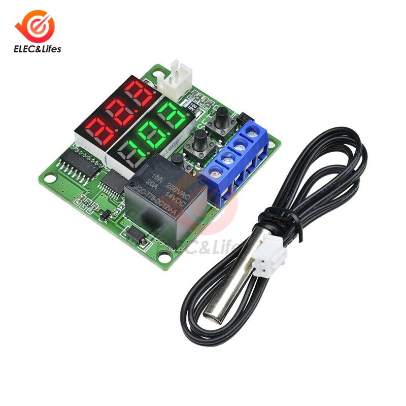 Controlador de temperatura W1219 W1209 DC 12V Dual Termostato Digital LED Control de interruptor regulador de temperatura Módulo Sensor NTC 10K