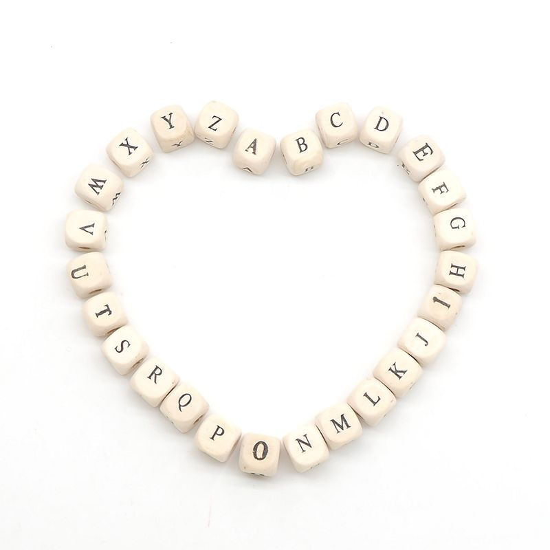 Chenkai 10mm 500PCS Natural Color Alphabet Random Mixed Beads Spacer Wooden Letter Beads For Making DIY Baby Teether Accessories