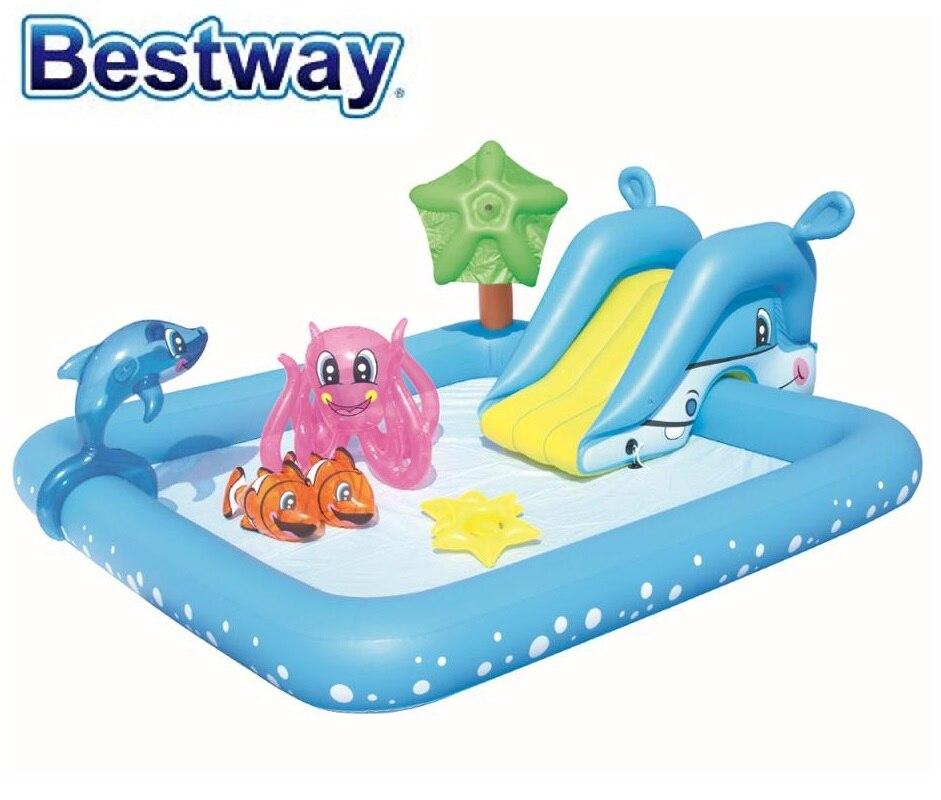 """53052 Bestway 2.39mx2.06mx86см бассейн для игр в аквариумах, 53052 94 """"x 81"""" x 34 """"бассейн для отдыха, детский бассейн с шариками"""