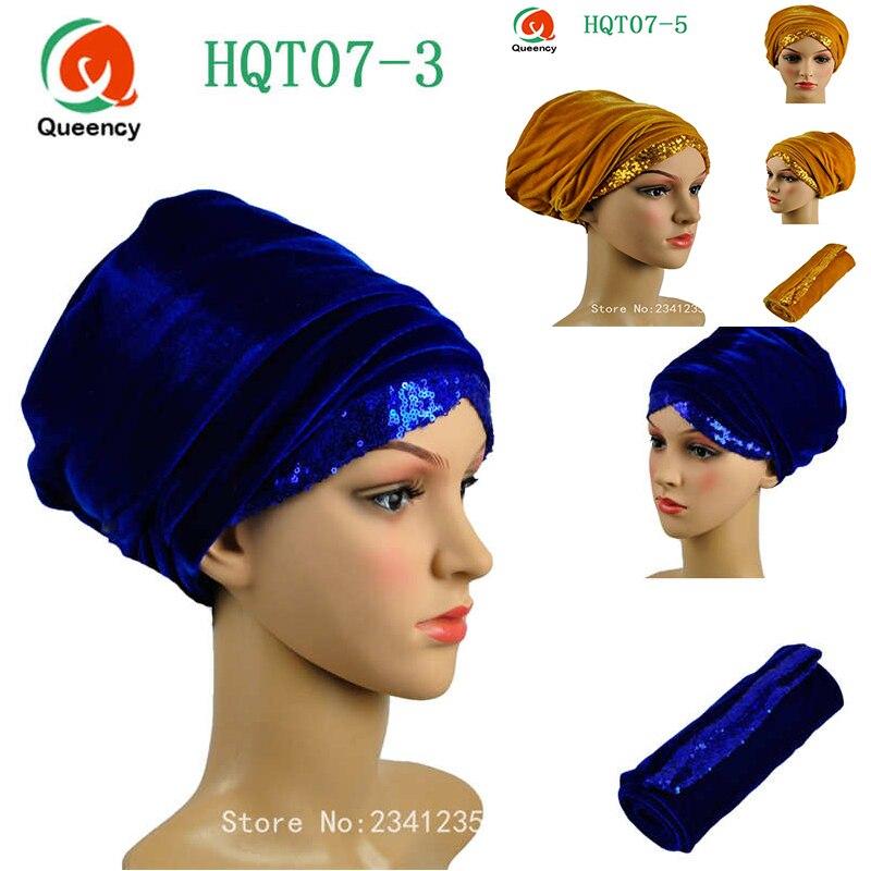 Turbante africano de gran calidad, turbante africano con lentejuelas, turbante africano para mujer, turbante para el pelo liso africano de 13 colores, turbante para mujer