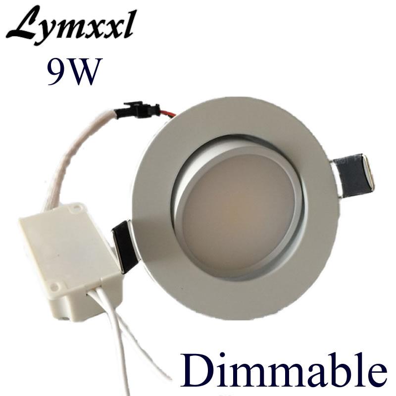 Aluminio 9w cob led empotrable Dowlights regulable luz led empotrable de techo de pc 90-260v CRI 85 de 120 ángulo