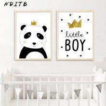 NDITB-affiche murale de Panda en toile   Impression de peinture, décoration nordique pour enfants, décor pour chambre et garçons