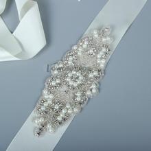 Real Satin Wedding Belt Crystal  Wide Long Bridal Belts with Crystals Wholesale Wedding Sash Crystal