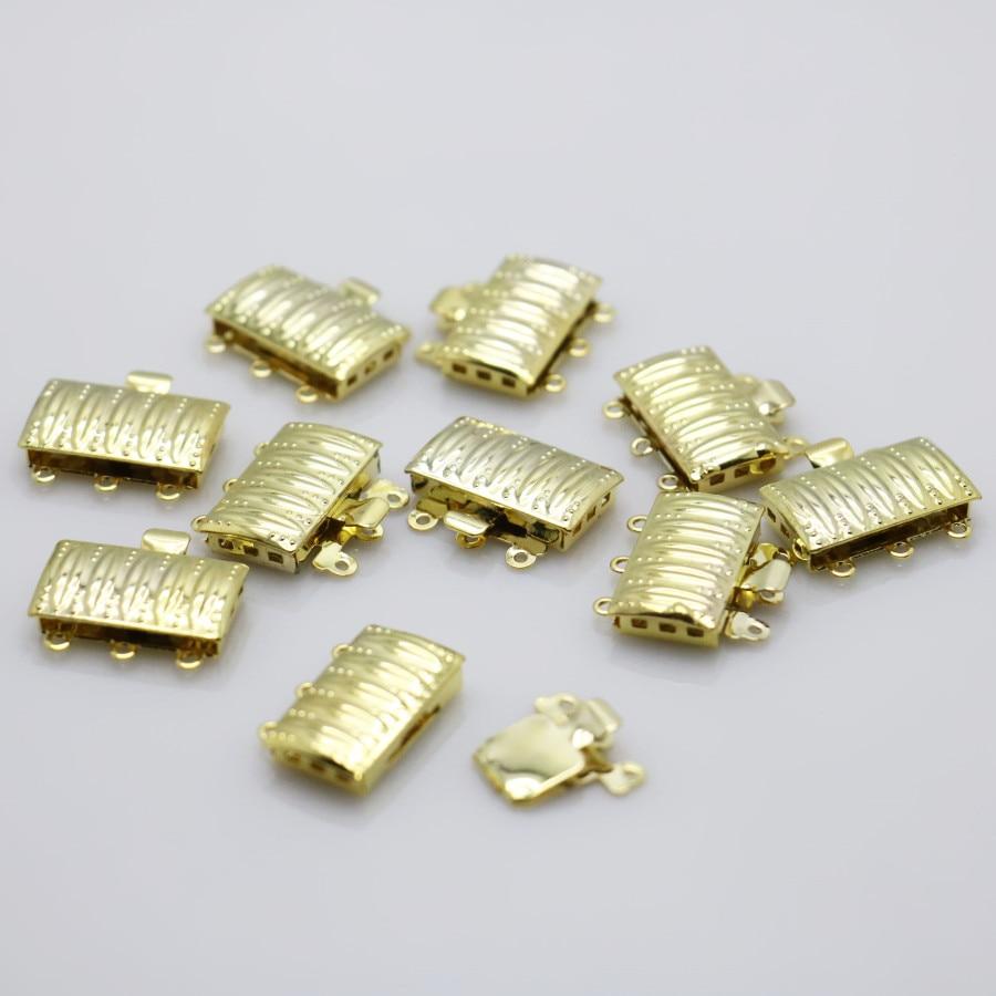 10 Uds rectángulo de rayas de Color dorado de 3 filas accesorios para botón accesorio para collar de pulsera mecanizado de piezas de Metal fabricación de joyas