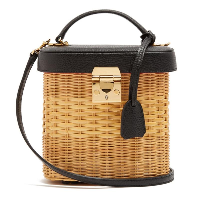 Women's bag luxury handbags rattan Straw crossbody bags for women Genuine Leather beach bucket bags original brand designer 2019